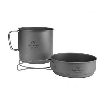 COOK'N'ESCAPE Titanium Set Titanium Frying Pan Outdoor Camp Picnic Cooker Set 1-3 Family Outdoor Cooking Super Lightweight