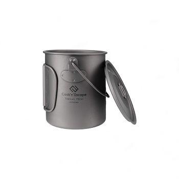 COOK'N'ESCAPE Titanium Cooker Pot Hanging Pot Mug Cup Outdoor Camping BBQ Handle With Hanging Lid