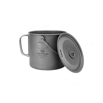 COOK'N'ESCAPE Titanium Cooker Pot Hanging Pot Mug Cup Outdoor Camping BBQ Handle With Hanging Lid 1100ml