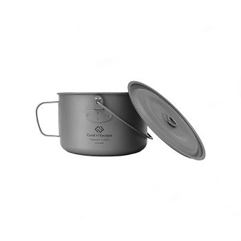 COOK'N'ESCAPE Titanium Cooker Pot Hanging Pot Mug Cup Outdoor Camping BBQ Handle With Hanging Lid 1300ml