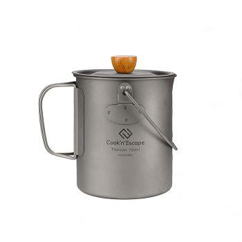 COOK'N'ESCAPE Titanium Coffee Cup Outdoor Camping Hiking Titanium Mug Multifunctional Coffee Pot