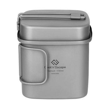 COOK'N'ESCAPE Camping Titanium Cookware Set - Ultralight 2 Piece Pot and Pan - Outdoor cookset Folding Handle Camping Hiking Soup Picnic Cookware