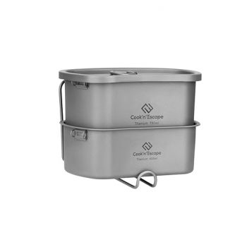 COOK'N'ESCAPE TitaniumMountaineering Camp Military Kit Cookware With Storage Bag