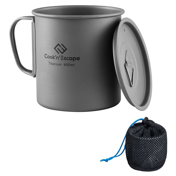 COOKNESCAPE Titanium Camping Cookware 300ml Titanium Cup With Folding Handle Ultralight Titanium Sierra Cup Compact For Outdoor Backpacking Traveling
